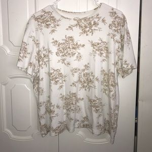 tan & white floral T-Shirt